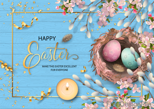 Happpy easter festival card with blue wood background vector