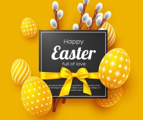 Happpy easter festival card yellow vector