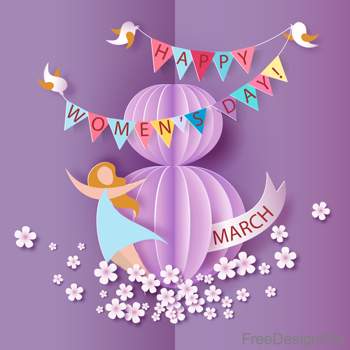 Happy 8 March women day and purple background vector