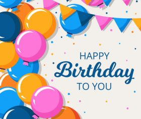 Happy birthday background with hand drawn balloons vector