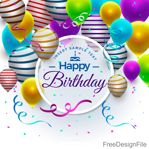 Happy birthday festive background with balloon and colored ribbon vector