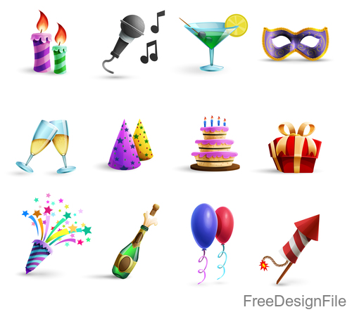 Happy birthday festive gifts elements vector 01