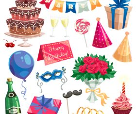 Happy birthday festive gifts elements vector 02