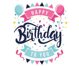 Happy birthday labels design vectors