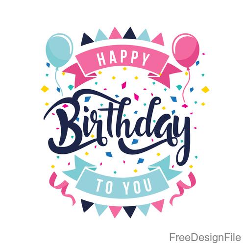 Happy birthday labels design vectors