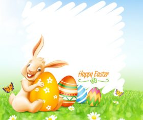 Happy easter background with funny rabbit vector