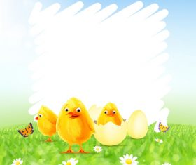 Happy easter background with funny rabbit vector 02
