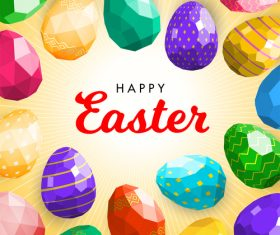 Happy easter background with geometry easter egg vector