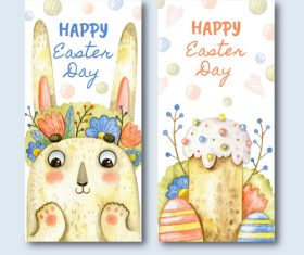 Happy easter day hand drawn banner vector