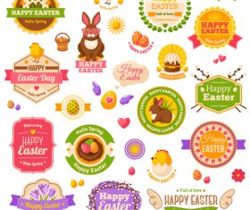 Happy easter day labels with badge vector set
