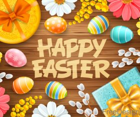 Happy easter elements design with wood wall background vector 01
