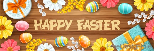 Happy easter elements design with wood wall background vector 02