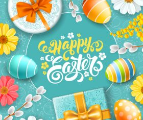 Happy easter festival elements vector