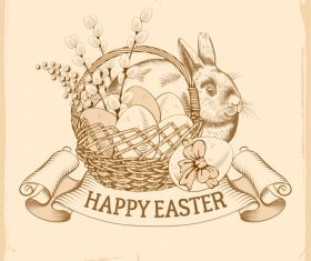 Happy easter label vintage design vector 01