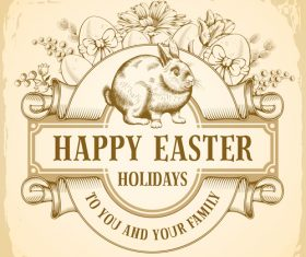 Happy easter label vintage design vector 02