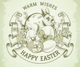 Happy easter label vintage design vector 03