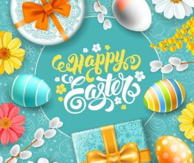 Happy easter with easter gift boxs design vector