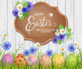 Happy easter wood sign with wood wall background vector
