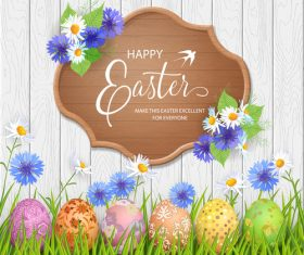 Happy easter wooden sign with egg and grass vector