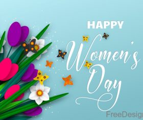 Happy women day background with butterfies vector 01