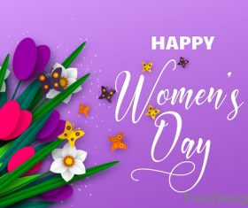 Happy women day background with butterfies vector 02