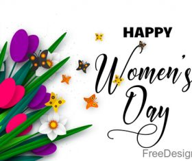 Happy women day background with butterfies vector 03