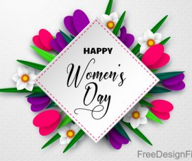 Happy women day card with beautiful flowers vector 01