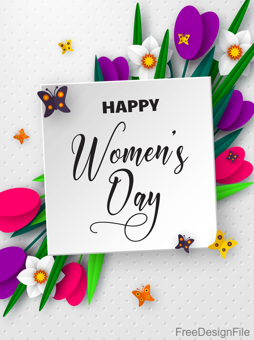 Happy women day card with beautiful flowers vector 02