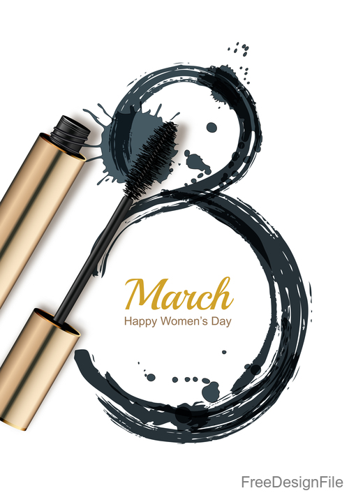 Happy women day with mascara vector