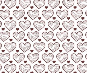 Heart shape lines seamless pattern vector