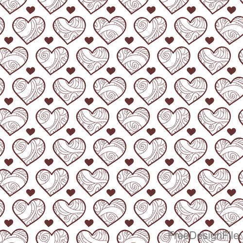 Heart shape lines seamless pattern vector