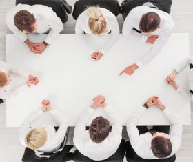 High angle shot business meeting Stock Photo