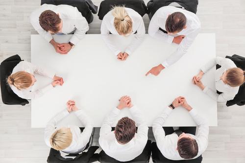 High angle shot business meeting Stock Photo