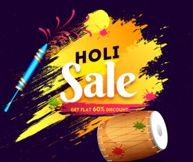 Holi festival sale discount background vectors