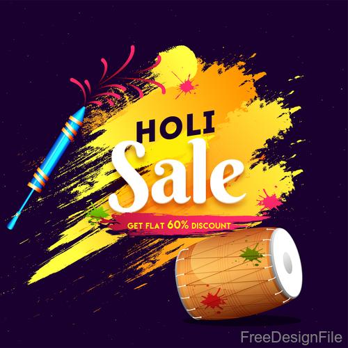 Holi festival sale discount background vectors