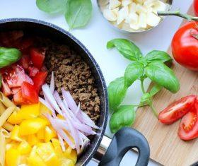 Home-made vegetarian pasta Stock Photo