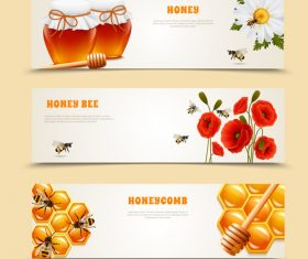Honey with bee banners vectors design 01