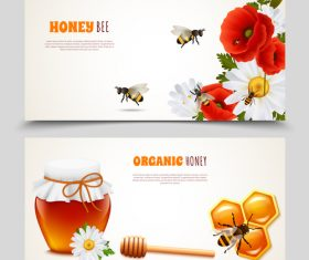 Honey with bee banners vectors design 02