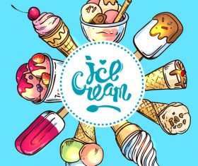 Ice cream frame design vector