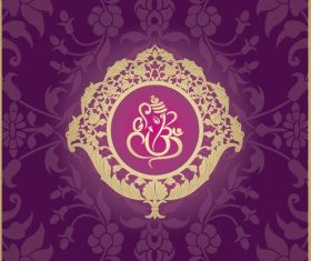 Indian traditional style purple decorative background vector 01