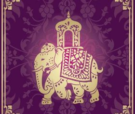 Indian traditional style purple decorative background vector 02