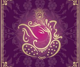 Indian traditional style purple decorative background vector 05