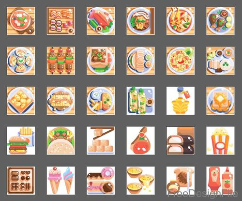 International food Flat icons