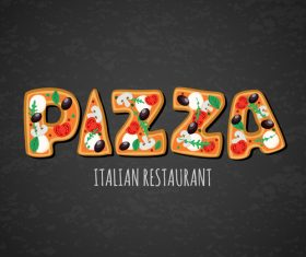Italian pizza background design vector