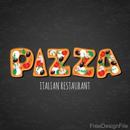 Italian pizza background design vector