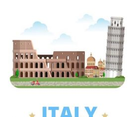 Italy travel elements design vector