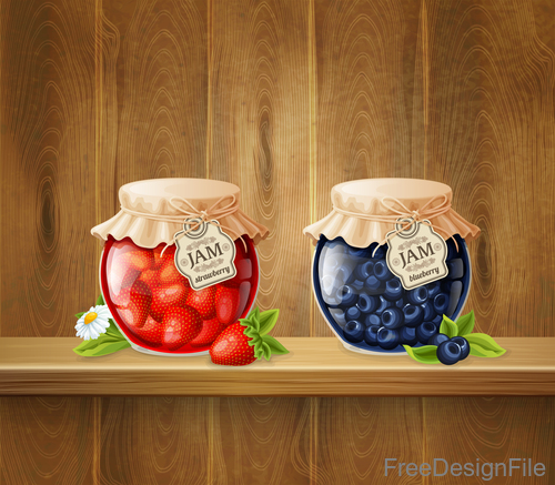 Jam with jar and wood background vector