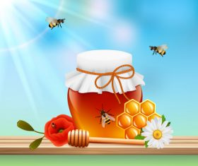 Jar with honey and sky background vector