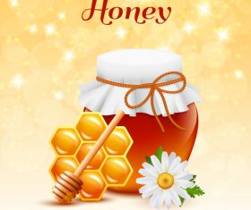 Jar with honey and white flower vector