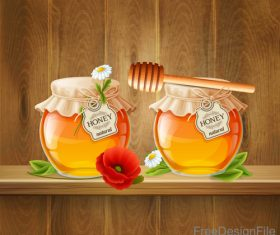 Jar with honey and wood background vector